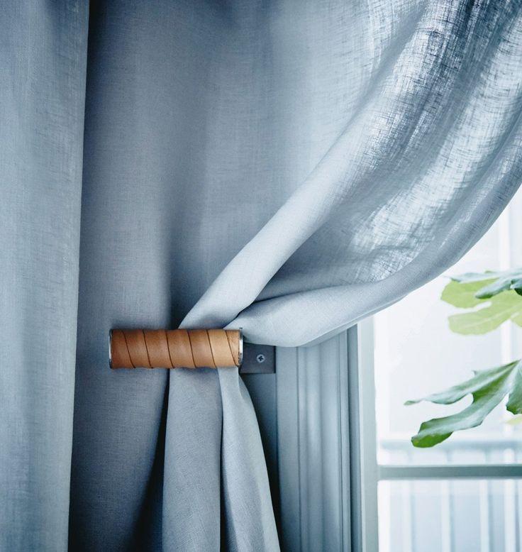 IKEA-hack Grundtal leather curtain holder Scandinavian decor