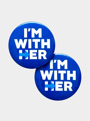 Hillary Clinton 2016. I'm with Her Button Combo. shop.hillary.clinton.com at her official website. Place orders by 12/10/15 for Christmas delivery