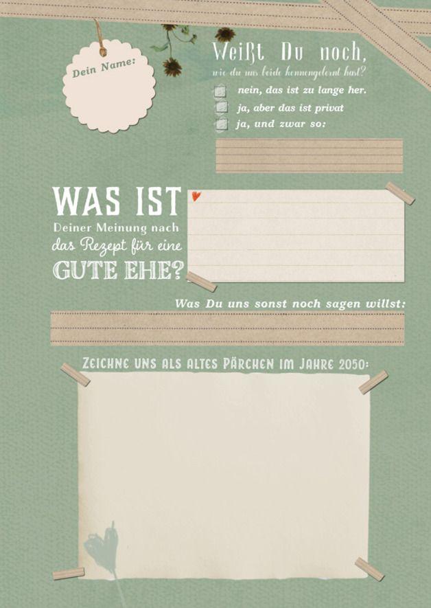 Hochzeitsgästebuch LEBE LIEBE LACHE mit Fragen A4