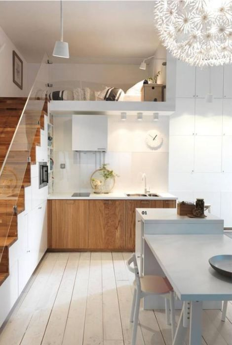 【見晴らしの良い包まれ空間】キッチン上のロフトのスモールリビング   住宅デザイン