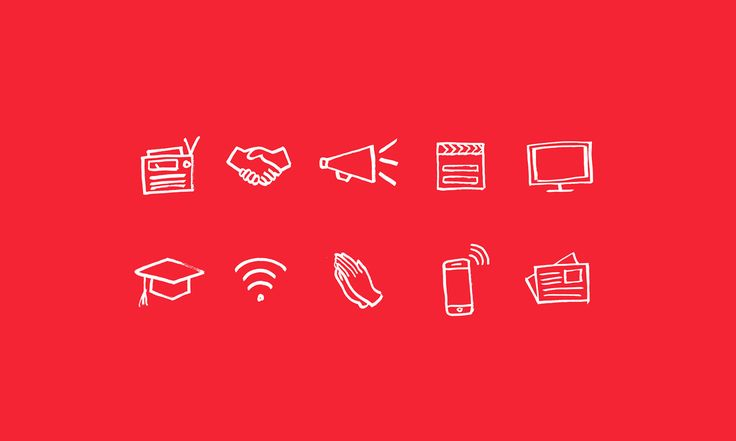 Selection of Project Everyone icons for radio, religion, film, television, mobile, news, etc.