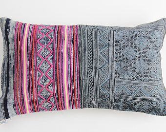 Boho Bohemian VINTAGE HMONG Textile Batik Patch Work Tribal Ethnic Piece Tradition Costume Indigo Pink Pillow Case