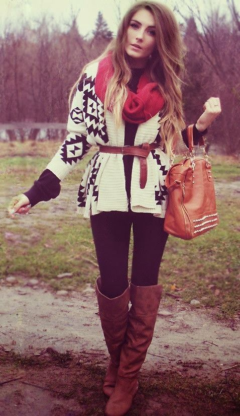 love this combination, with the red scarf Aztec Cardigan With Long Boots and Leather Handbag