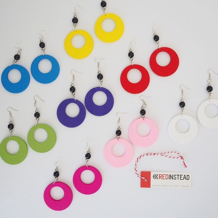 Earrings in all the colours! #earrings #jewelrydesigner #beads #woodenbeads #jewelry #jewellery #fashion #nineties #ninetiesfashion #90s #redinsteadshop #diy #canberra #handmade #canberrahandmade #supportlocal #localscan #cbr