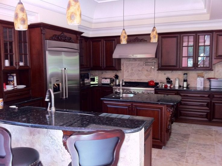 Image Result For Black Pearl Granite Countertop With Cherry Cabinets