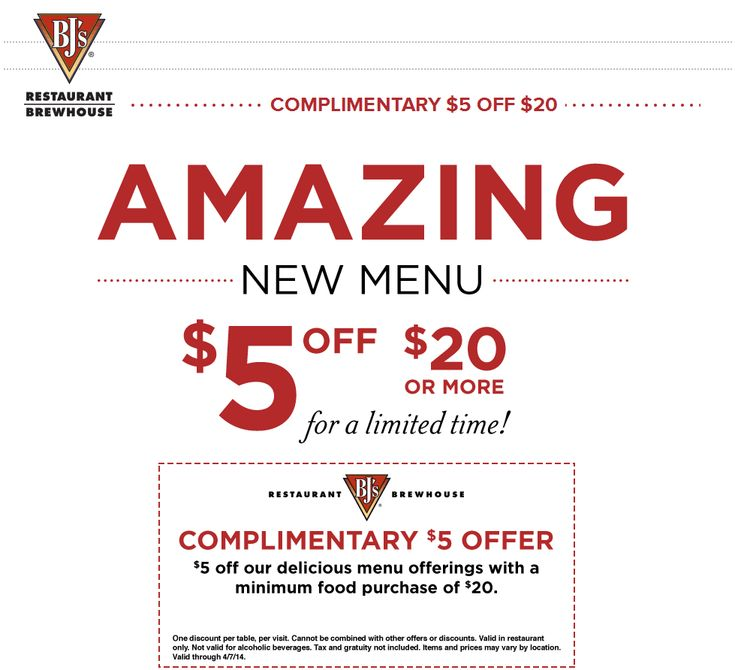 Pinned March 24th: $5 off $20 at BJs #Restaurant Brewhouse #coupon via The Coupons App