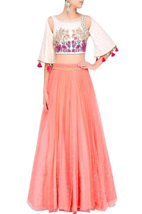 crop top and lehenga trend