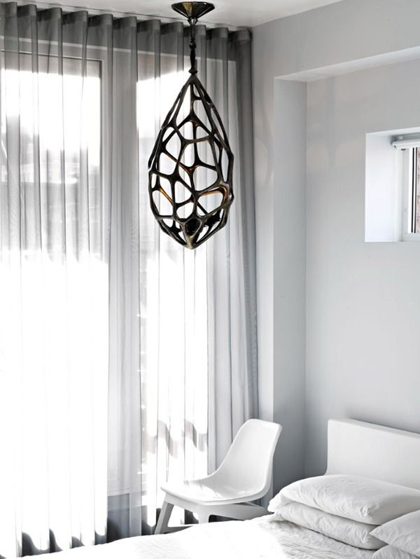 Geometric lighting and white on white minimalism. ALIEN EGG LOOK LIKE BUT LOVE THE SHAPE...