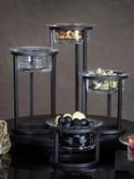 Traditional Transitional Black Iron Metal and Glass Individual Serving Bowls