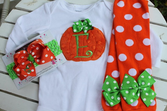 Baby Girl Pumpkin Outfit  Pretty Little by DarlingLittleBowShop