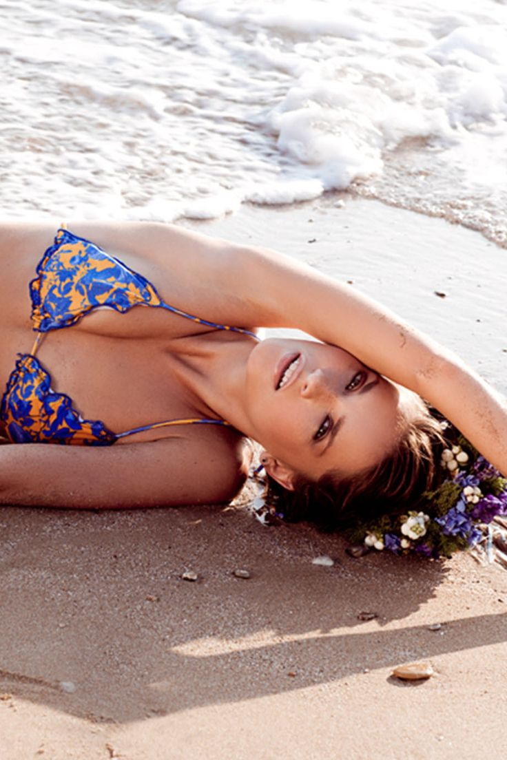 FRUFRU Yellow with Blue Flowers Frill Bikini  #swimpinksands #pinksands #blueflowers #yellow #summer #shore #swimwear #greekdesigners   www.swimpinksands.com