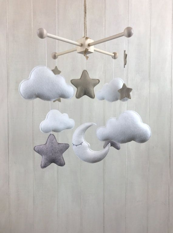 Baby mobile moon star and cloud mobile by JuniperStreetDesigns