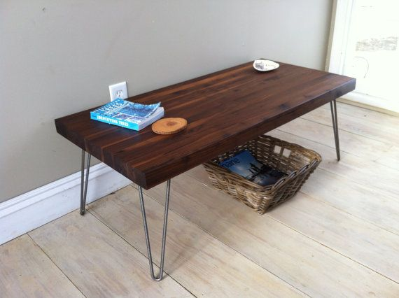 walnut coffee table modern industrial style featuring butcher block top and hairpin legs 18 - Butcher Blocks