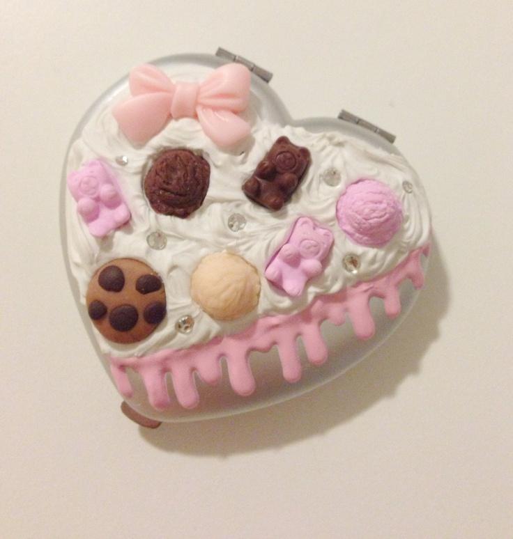 SALE Kawaii decoden gummy bear ice cream whipped cream compact heart mirror. $6.00, via Etsy.