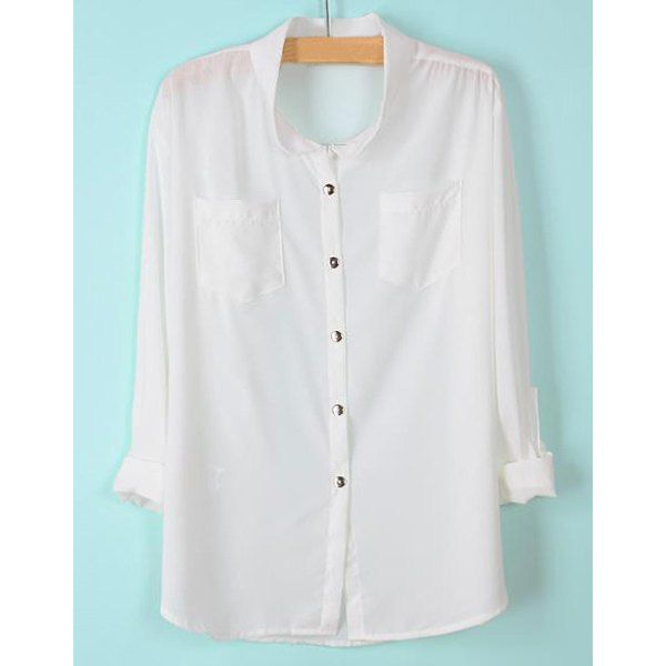 Simple Design Stand-Up Collar Solid Color Pockets Long Sleeve Shirt For Women, AS THE PICTURE, S in Blouses | DressLily.com