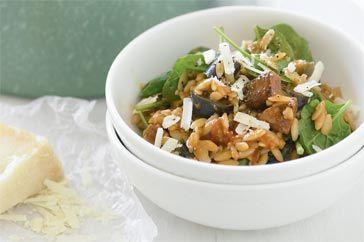 Chorizo and eggplant risoni  Includes variations to recipe including chorizo, eggplant, zucchini soup
