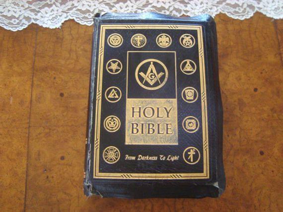 Vintage 1955 Masonic Bible Leather Gold Leaf by SofiasCobwebMuseum..$40
