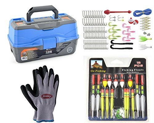 Ready To Fish 2 Tray Fishing Box + Berkley Fishing Gloves + 136 pieces of assorted tackle + Fishing Floats bundle (4 items).