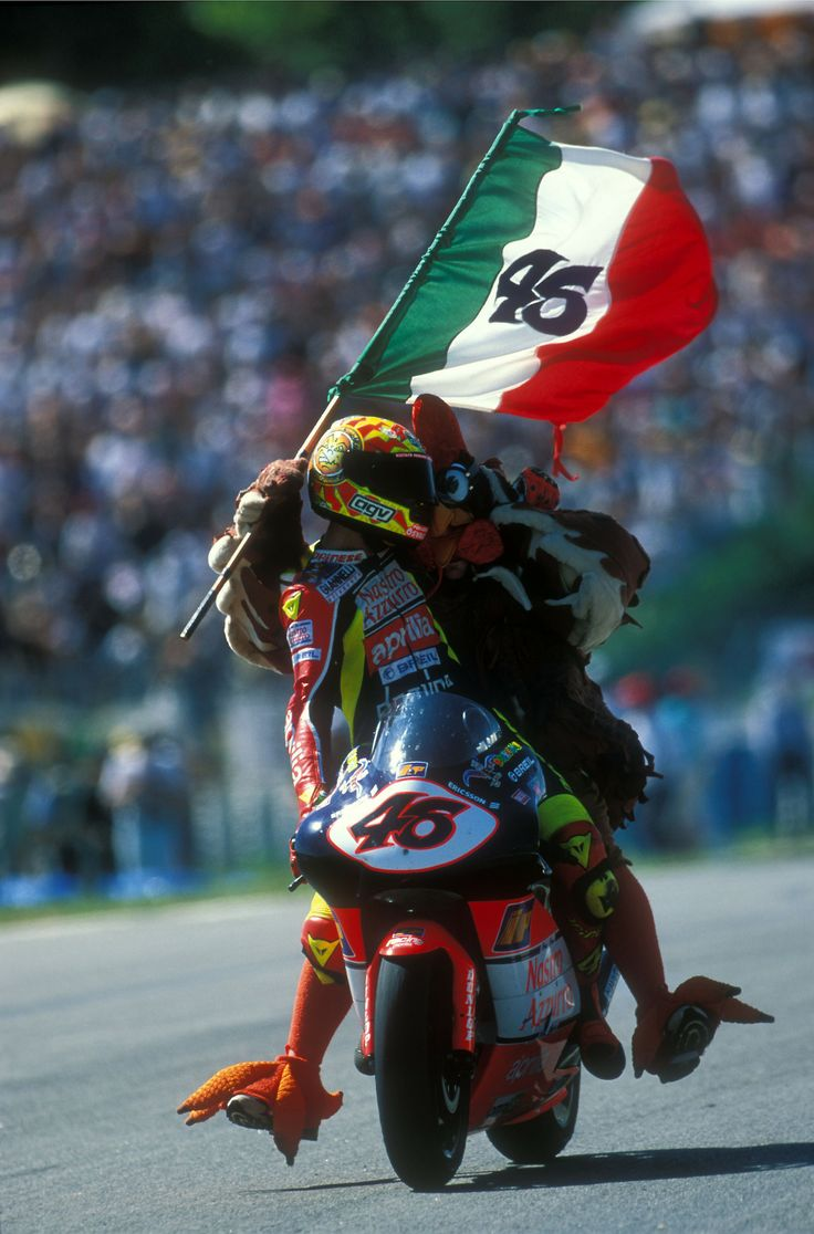"Celebrate it like a Rossi! Valentino ROSSI, Nastro Azzurro Aprilia, Aprilia RSW 250, 1998 GP Marlboro De Catalunya, 250cc Race, Circuit de Catalunya, Barcelona, Sunday 20 September 1998, finished 1st ""il pollo Osvaldo"""