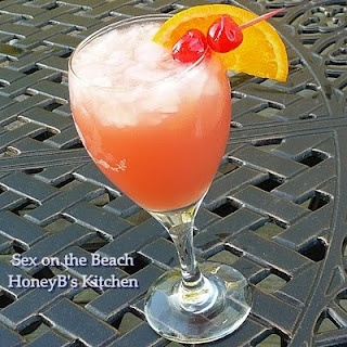 Sex on the Beach (Can't wait for summer)  3 ounces orange juice (I buy Simply Orange pulp free)  3 ounces cranberry juice cocktail  1 ounce vodka (we use Sky Vodka)  1 ounce peach schnapps  glass with crushed ice
