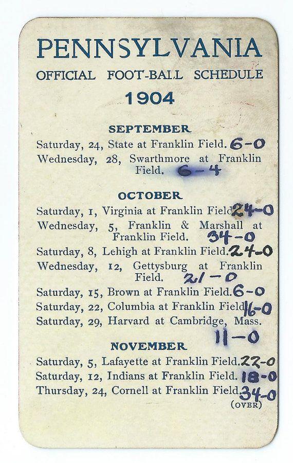 1904 University of Pennsylvania Football Pocket Schedule - Antique Football Memorabilia $125.00