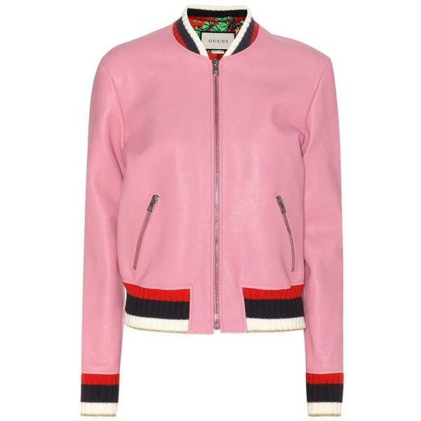 Gucci Leather Jacket ($4,200) ❤ liked on Polyvore featuring outerwear, jackets, pink, pink jacket, genuine leather jackets, gucci, 100 leather jacket and leather jackets