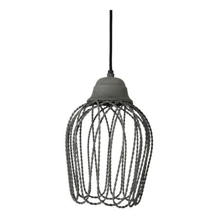 Hanging Metal Cage Pendant, Cement Finish