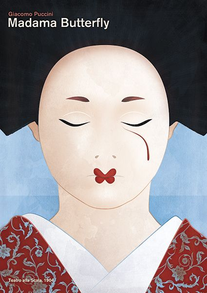 """Opera poster """"Madama Butterfly"""" - Large illustration minimalist book cover poster. - This poster is inspired by Giacomo Puccini's famous opera """"Madama Butterfly"""", premiered in 1904 in the Teatro alla Scala in Milano, Italy. The opera is based in part on the short story """"Madame Butterfly"""" (1898) by John Luther Long, and partially on the semi-autobiographical 1887 French novel """"Madame Chrysanthème"""" by Pierre Loti."""