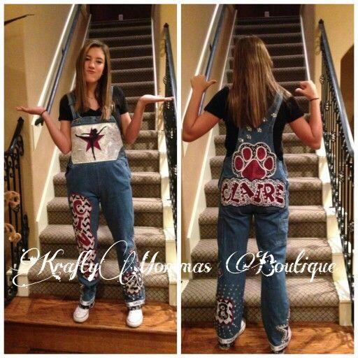 Homecoming overalls, dancer, #KraftyMommas KraftyMommas Boutique www.kraftymommas.blogspot.com decorated, spirit, custom made