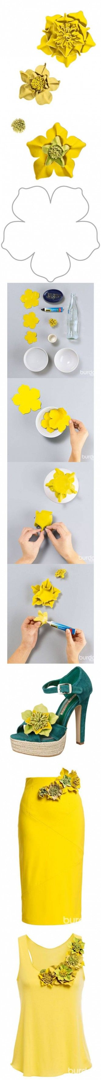 I wonder if I could do this with wool felt.  Paper and fabric with and glue. DIY Fashionable Leather Flowers DIY Projects