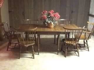 Vintage Pennsylvania House Early American Dining Table With 6 Windsor Chairs  Photos And Information In AncientPoint Part 91