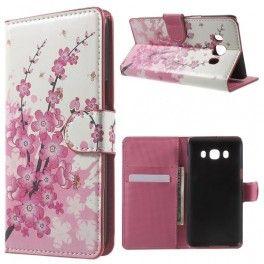 Samsung Galaxy J5 2016 vaaleanpunaiset kukat puhelinlompakko.
