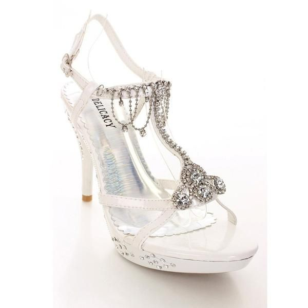 White Rhinestone Evening Bridal Wedding High Heel Sandal Womens Shoes