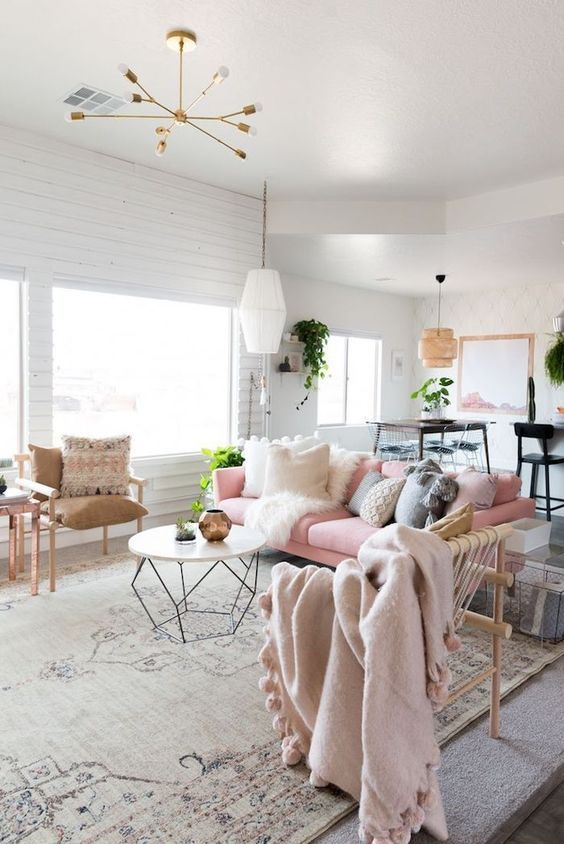 Salon scandinave tonalités roses | SCANDINAVIAN HOME en 2019 | Salon ...