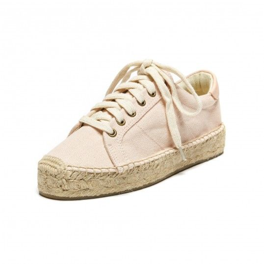 Soludos Canvas Platform Tennis Sneaker in Soft Rose - Soludos Espadrilles