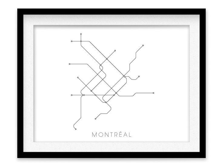 Impressions de carte métro Montréal  Poster de plan par MetroMaps, $20.00