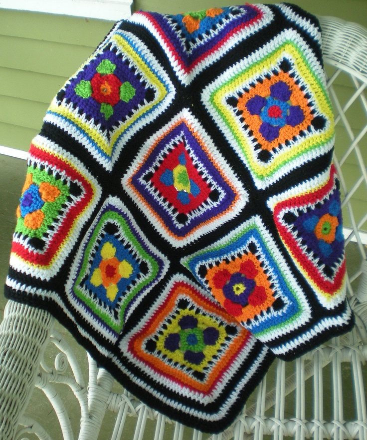 ao with <3 / bright blocks afghan