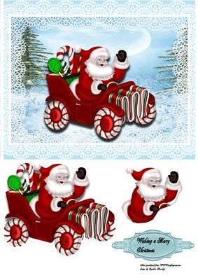 A5 santa in his car on Craftsuprint designed by Cynthia Berridge - quick card front to decoupage - Now available for download!