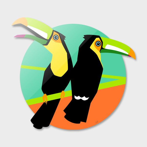 Discover «Tropical Toucans», Limited Edition Die-Cut Print by Pia Kolle - From 140€ - Curioos