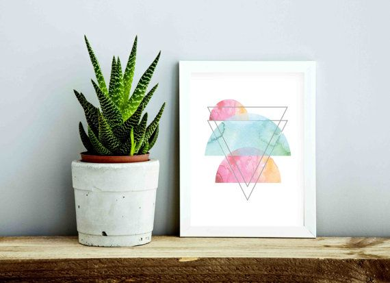 Contemporary geometric watercolour poster by FrankieAndGus on Etsy