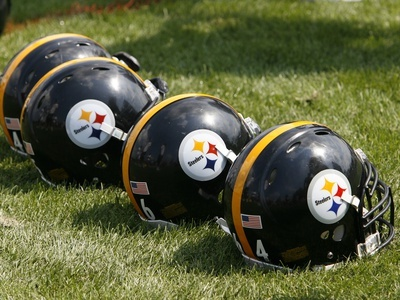 Steelers Camp Football: Latrobe, PA - Steelers Helmets