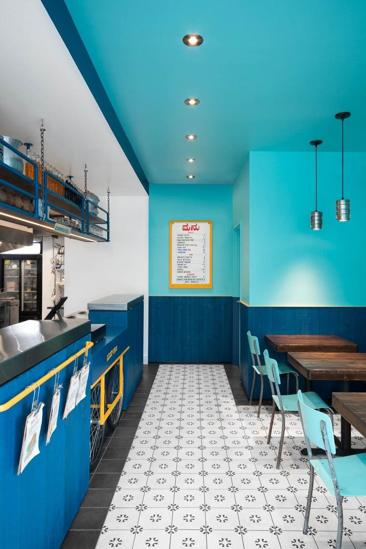 small and vibrant restaurant interior in montreal - Restaurant Design Ideas