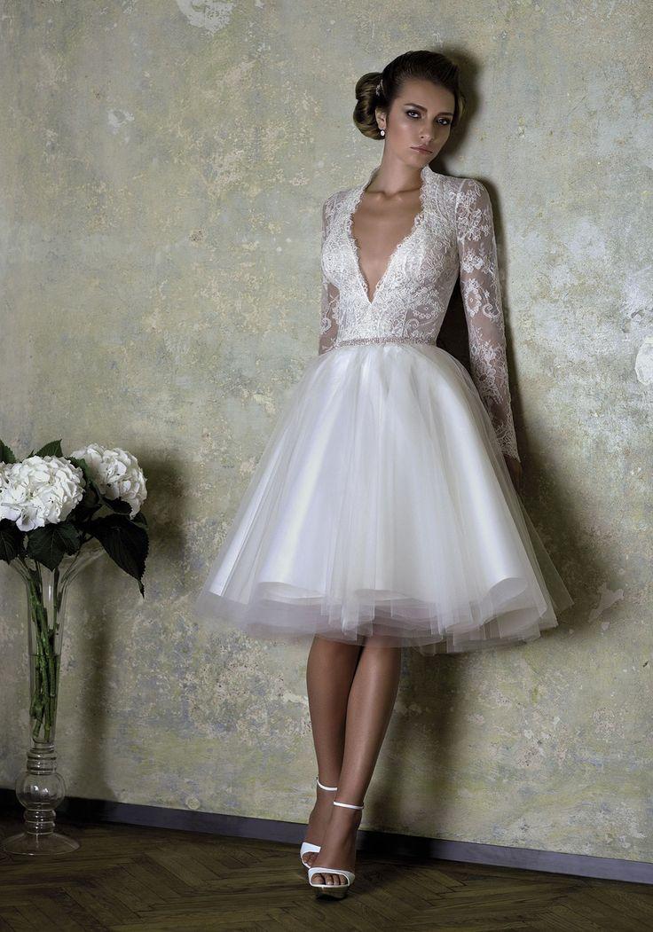Long Sleeves VNeck Tea Length Wedding Dress Star Bridal