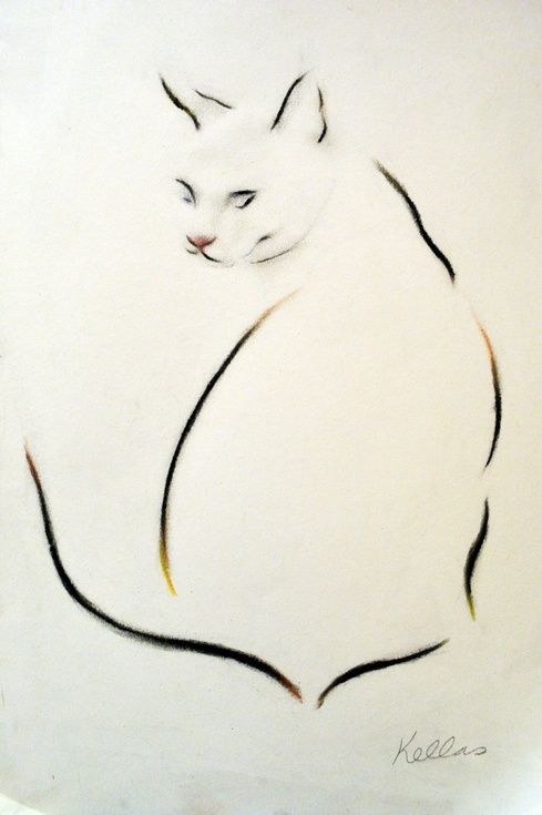 ARTFINDER: Beyond Cat by Kellas Campbell - I used pencil and charcoal to draw my cat, Charlie.  I also used a touch of pastel to emphasise her subtle colouring.