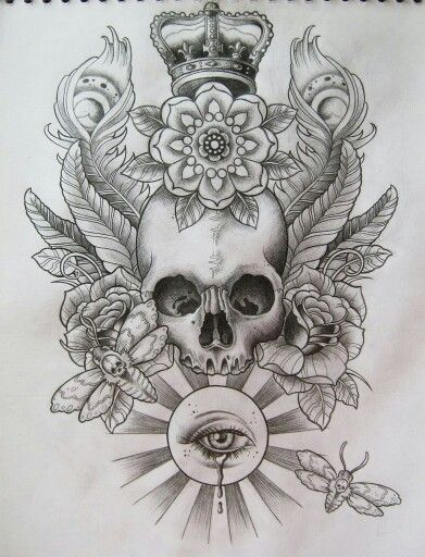 I love the composition on this piece.  The central skull is always an eye grabber. D when we go to design my chest piece this would be a good reference.