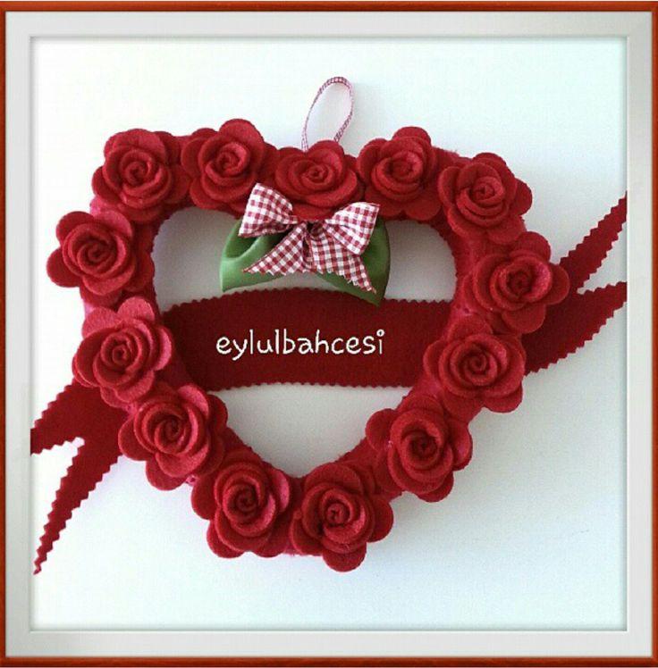 Sevgililer günü kalp kapı süsü