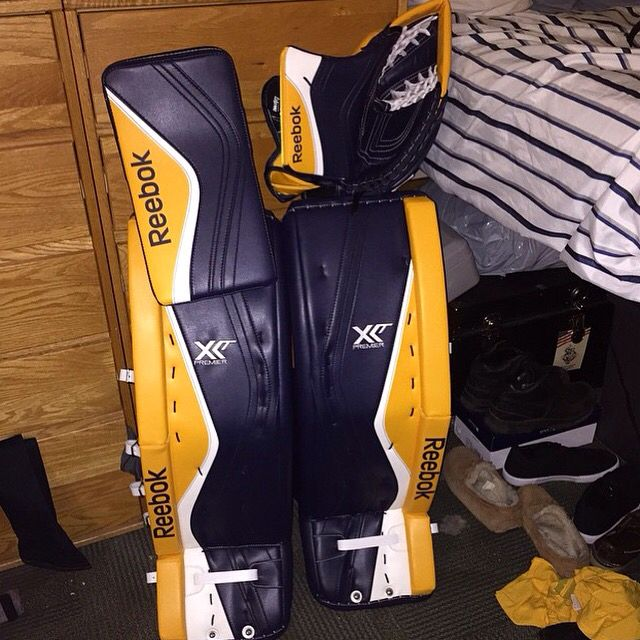 Custom Reebok Premier XLT's in White, Yellow, and Navy Blue.