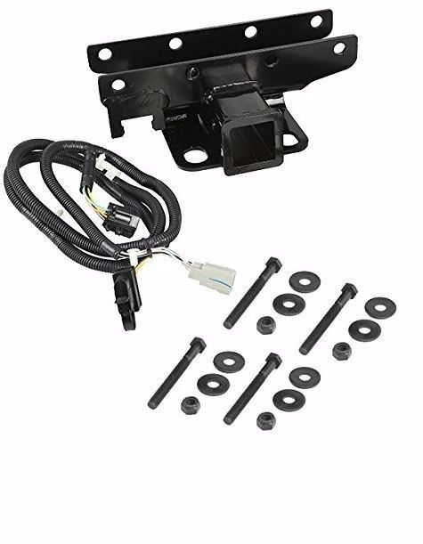 Black 2 Inch Receiver Hitch Kit With Wiring Harness Mount On Rear 3500 Tow Rate #RuggedRidge