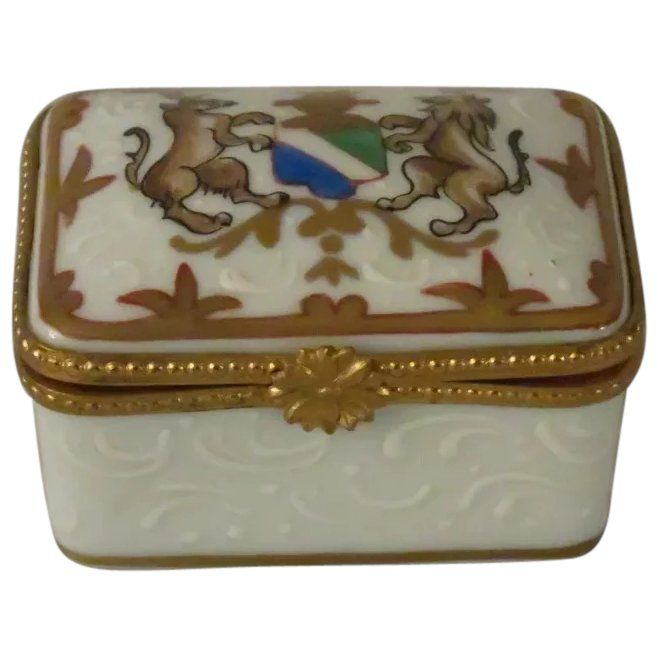 Limoges France Porcelain Box With Stag And Lion Crest Limoges Porcelain Limoges Boxes