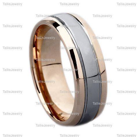 Hombres 14K de dos tonos oro alianzas anillos de boda para